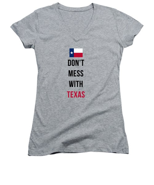 Don't Mess With Texas Tee Blue Women's V-Neck T-Shirt (Junior Cut)