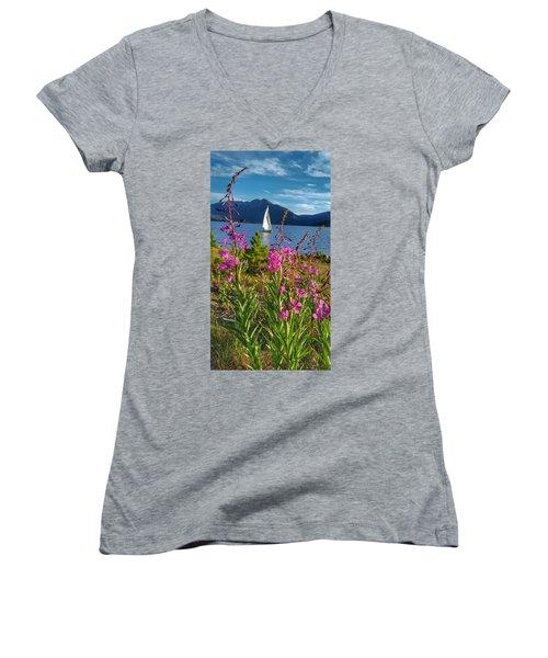 Don't Rush A Good Thing Women's V-Neck T-Shirt (Junior Cut) by Fiona Kennard