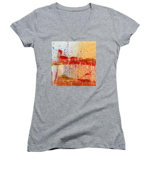 Doobie Brothers Women's V-Neck T-Shirt (Junior Cut) by Phil Strang