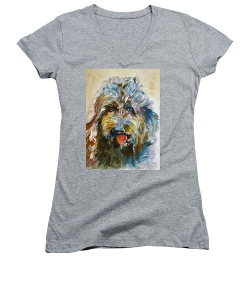 Doodle Women's V-Neck T-Shirt (Junior Cut) by Khalid Saeed