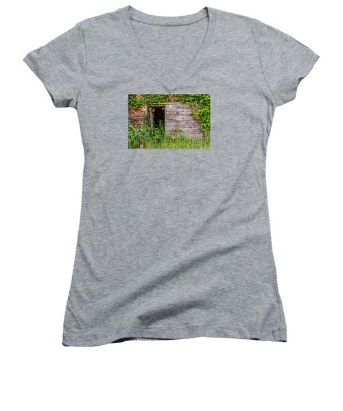 Women's V-Neck T-Shirt (Junior Cut) featuring the photograph Door Ajar by Christopher Holmes