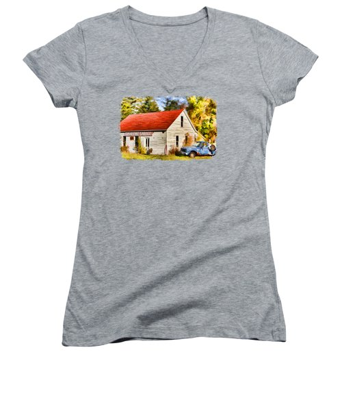 Women's V-Neck T-Shirt (Junior Cut) featuring the painting Door County Gus Klenke Garage by Christopher Arndt