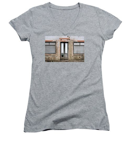Women's V-Neck T-Shirt (Junior Cut) featuring the photograph Door No 128 by Marco Oliveira