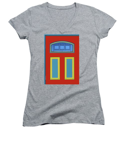 Door - Primary Colors Women's V-Neck T-Shirt (Junior Cut) by Nikolyn McDonald