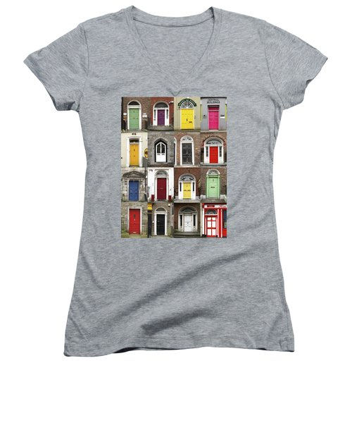 Women's V-Neck T-Shirt (Junior Cut) featuring the photograph Doors Of Limerick by Marie Leslie
