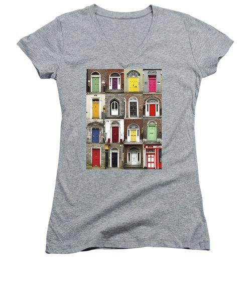 Doors Of Limerick Women's V-Neck T-Shirt (Junior Cut) by Marie Leslie