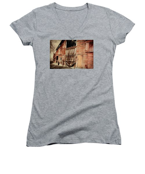 Doors Open Women's V-Neck T-Shirt (Junior Cut) by Julie Hamilton