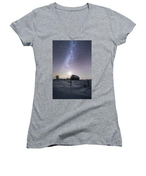 Women's V-Neck T-Shirt (Junior Cut) featuring the photograph Dormant by Aaron J Groen