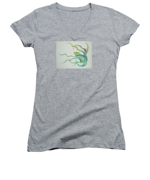 Women's V-Neck T-Shirt (Junior Cut) featuring the painting Dot Octopus by Tamyra Crossley