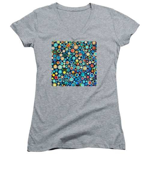 Dots On Painted Background Women's V-Neck (Athletic Fit)