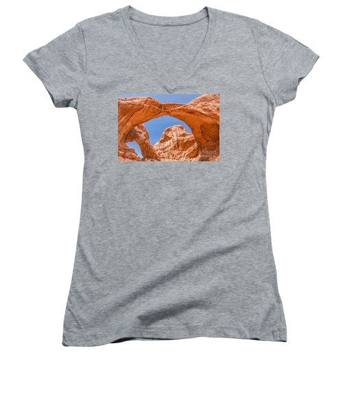 Women's V-Neck T-Shirt (Junior Cut) featuring the photograph Double Arch At Arches National Park by Sue Smith