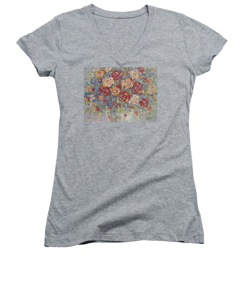 Women's V-Neck T-Shirt (Junior Cut) featuring the painting Double Delight. by Natalie Holland
