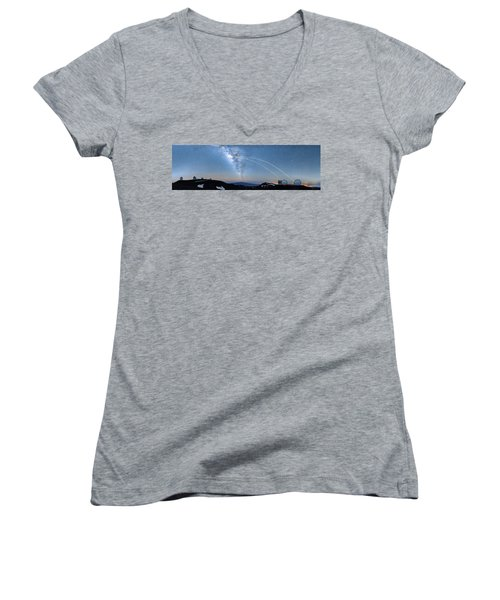 Double Lasers With The Milky Way Panorama Women's V-Neck (Athletic Fit)
