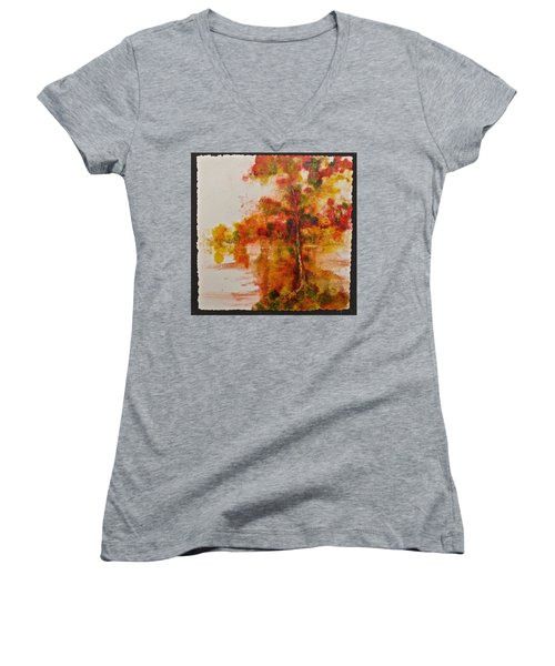 Double Reflection Women's V-Neck T-Shirt (Junior Cut) by Carolyn Rosenberger