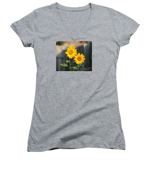 Double Sunflowers 2  Women's V-Neck (Athletic Fit)