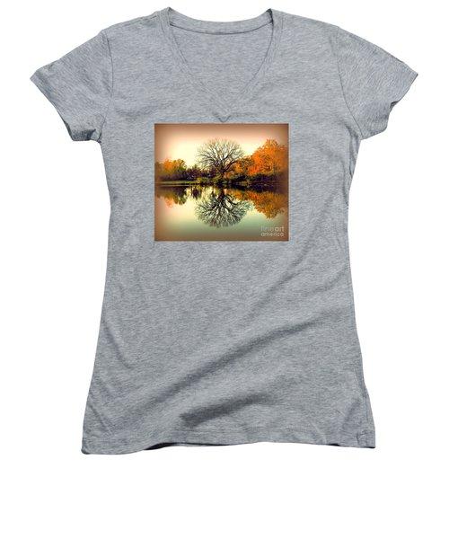 Double Take Women's V-Neck T-Shirt (Junior Cut) by Nancy Kane Chapman