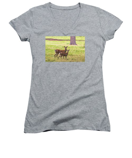 Women's V-Neck T-Shirt (Junior Cut) featuring the photograph Double Take by Scott Carruthers