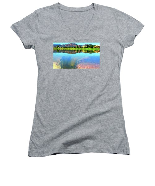 Doughnut Lake Women's V-Neck T-Shirt (Junior Cut) by Eric Dee