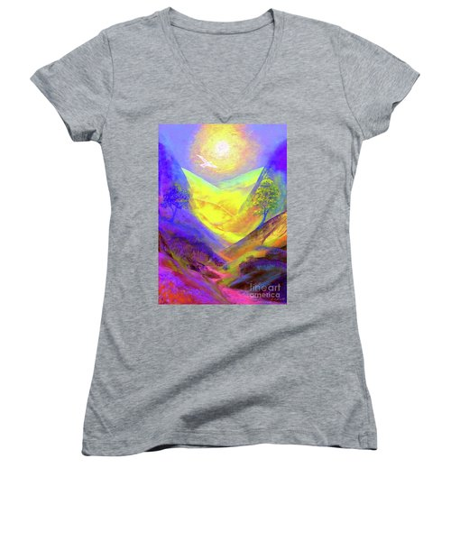 Women's V-Neck T-Shirt (Junior Cut) featuring the painting Dove Valley by Jane Small
