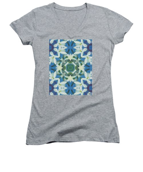Doves Of Peace Women's V-Neck T-Shirt (Junior Cut) by Maria Watt