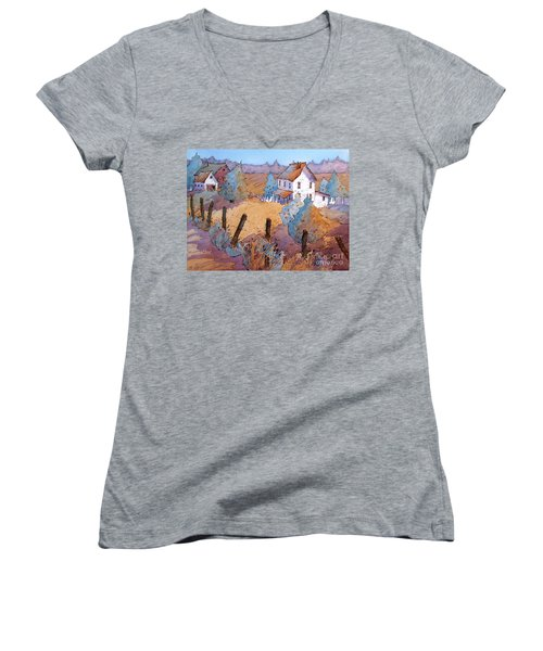 Down A Country Road Women's V-Neck T-Shirt