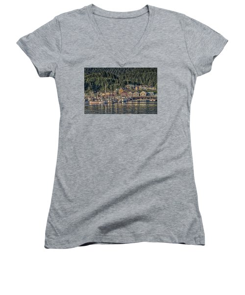 Women's V-Neck T-Shirt (Junior Cut) featuring the photograph Down At The Basin by Timothy Latta