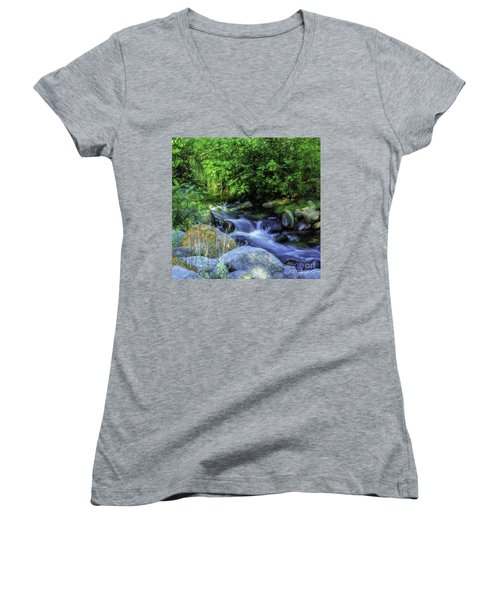 Women's V-Neck T-Shirt (Junior Cut) featuring the photograph Down Stream by Nancy Marie Ricketts