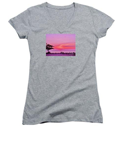 Summer Down The Shore Women's V-Neck T-Shirt (Junior Cut) by Susan Carella
