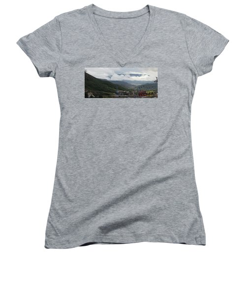 Down The Valley At Snowmass #3 Women's V-Neck T-Shirt