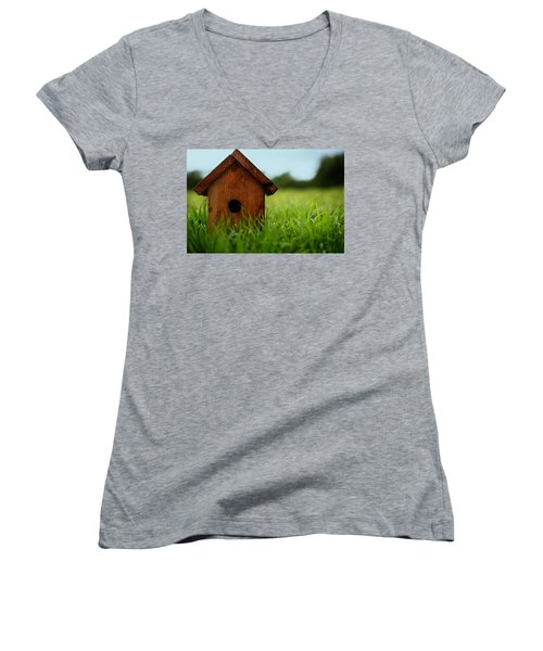 Women's V-Neck T-Shirt (Junior Cut) featuring the photograph Down To Earth by Laura Fasulo
