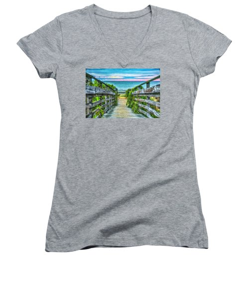 Down To The Beach Women's V-Neck