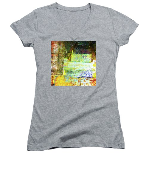 Women's V-Neck T-Shirt (Junior Cut) featuring the mixed media Down by Tony Rubino