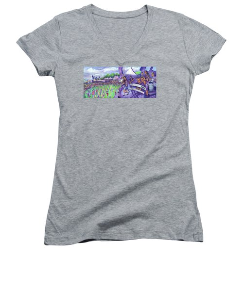 Women's V-Neck T-Shirt (Junior Cut) featuring the painting Down2funk At Arise by David Sockrider