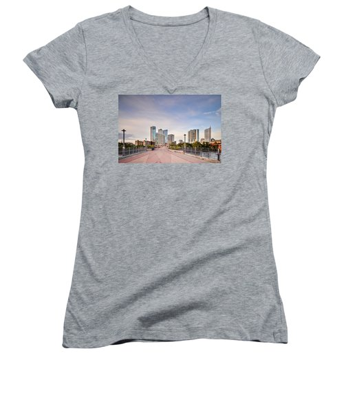 Downtown Austin Skyline From Lamar Street Pedestrian Bridge - Texas Hill Country Women's V-Neck T-Shirt (Junior Cut) by Silvio Ligutti