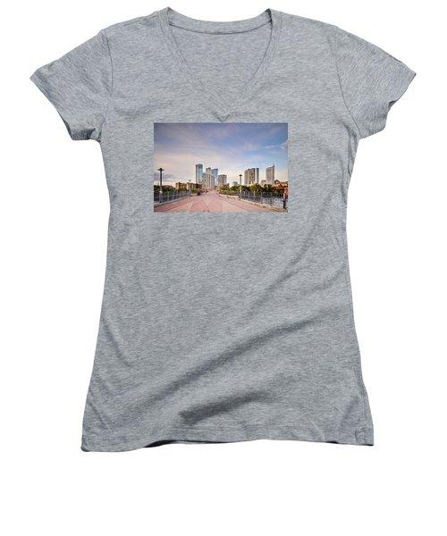 Downtown Austin Skyline From Lamar Street Pedestrian Bridge - Texas Hill Country Women's V-Neck