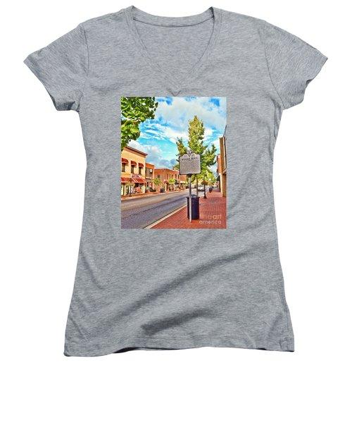 Downtown Blacksburg With Historical Marker Women's V-Neck T-Shirt (Junior Cut) by Kerri Farley