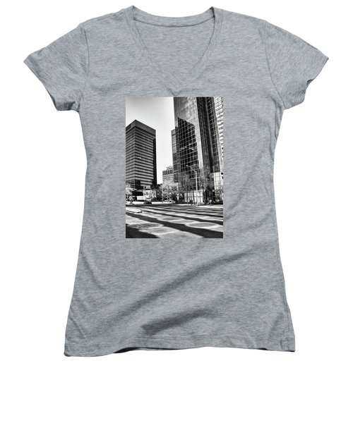 Women's V-Neck T-Shirt (Junior Cut) featuring the photograph Downtown Bubble Reflections by Darcy Michaelchuk