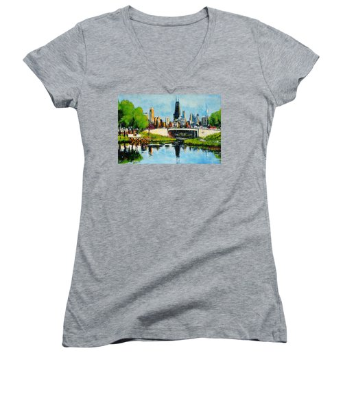 Downtown Chicago From Lincoln Park Women's V-Neck