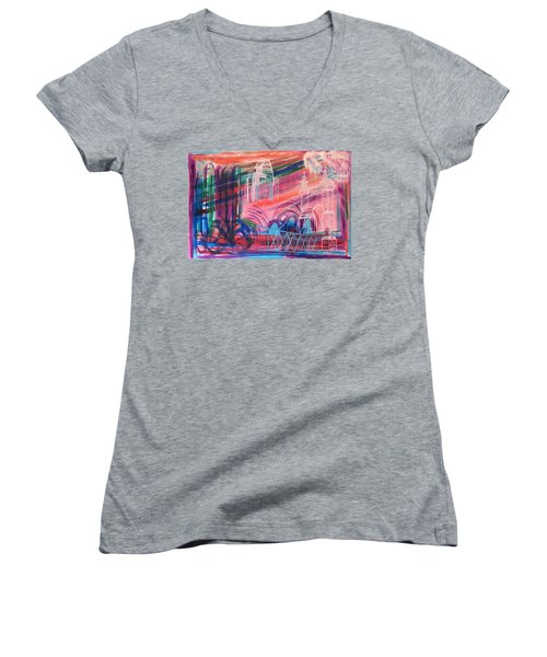 Women's V-Neck T-Shirt (Junior Cut) featuring the painting Downtown Cincinnati by Diane Pape