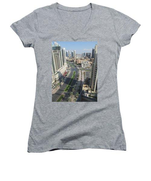 Women's V-Neck T-Shirt (Junior Cut) featuring the photograph Downtown Dubai by Marie Neder