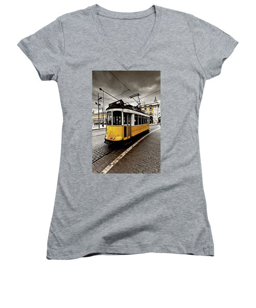 Women's V-Neck T-Shirt (Junior Cut) featuring the photograph Downtown by Jorge Maia