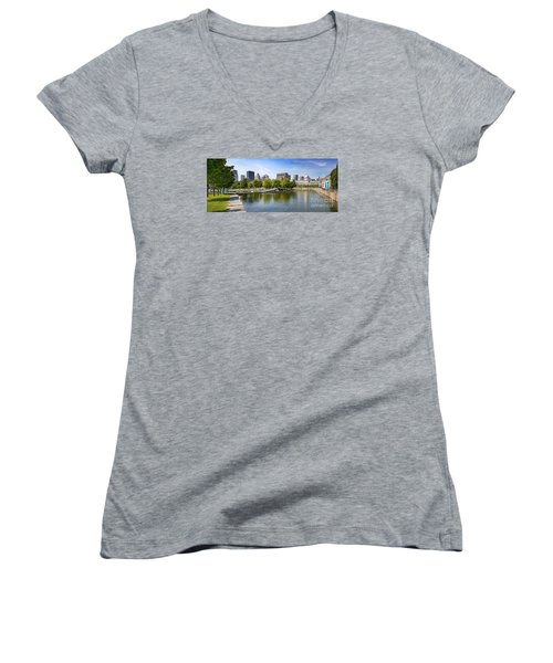 Downtown Montreal In Summer Women's V-Neck (Athletic Fit)