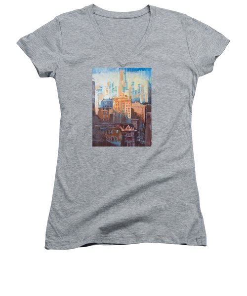 Downtown Old And New Women's V-Neck T-Shirt (Junior Cut) by John Fish