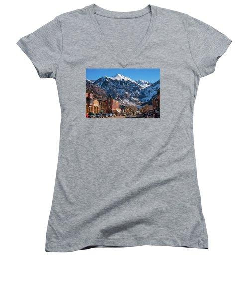Downtown Telluride Women's V-Neck T-Shirt (Junior Cut) by Darren White