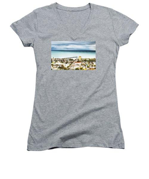 Downtown Ventura And Pier Women's V-Neck T-Shirt (Junior Cut) by Joe  Palermo