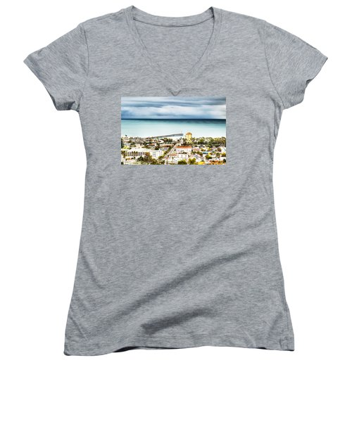 Downtown Ventura And Pier Women's V-Neck (Athletic Fit)