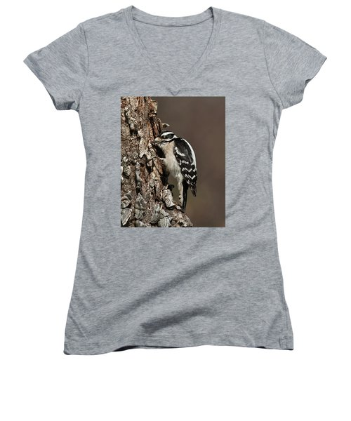 Downy Woodpecker's Secret Stash Women's V-Neck T-Shirt (Junior Cut) by Lara Ellis