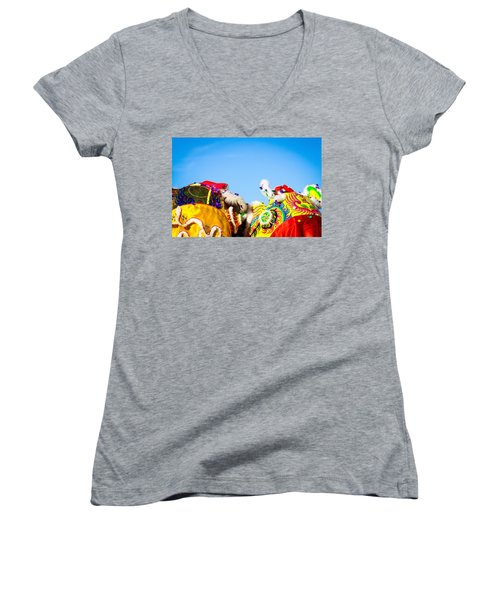 Women's V-Neck T-Shirt (Junior Cut) featuring the photograph Dragon Dance by Bobby Villapando
