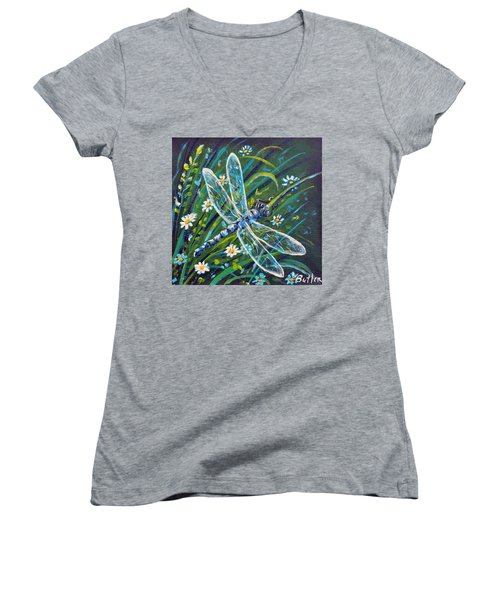 Dragonfly And Daisies Women's V-Neck T-Shirt (Junior Cut) by Gail Butler