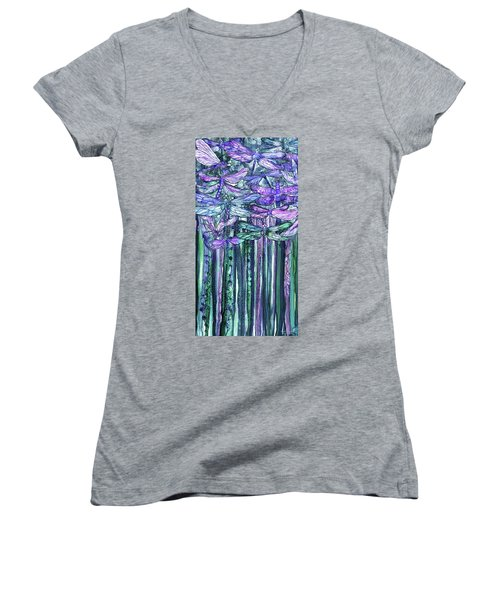 Women's V-Neck featuring the mixed media Dragonfly Bloomies 2 - Lavender Teal by Carol Cavalaris